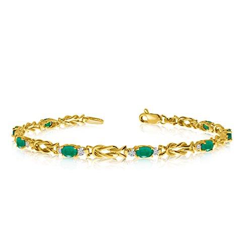 "2.40 Carat (ctw) 10K Yellow Gold Oval Green Emerald and Diamond Interlocked Tennis Bracelet - 7"" Length"
