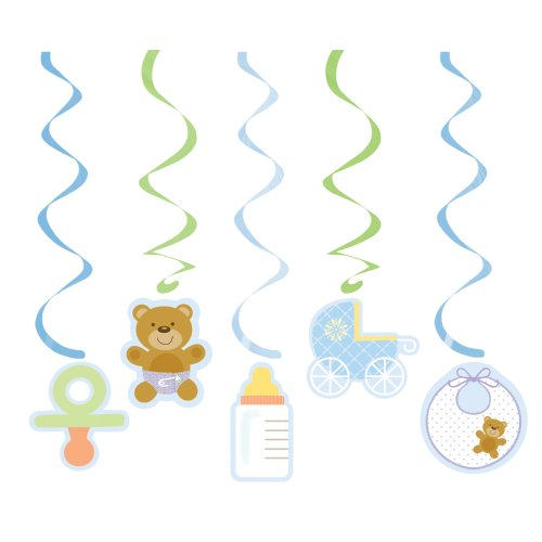 Creative Conversion Baby Shower Teddy Baby Blue 5 Count Dizzy Danglers Décoration Hanging