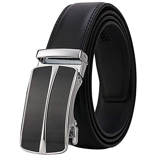 (Lavemi Men's Real Leather Ratchet Dress Belt with Automatic Buckle,Elegant Gift Box(55-0093 Black 52