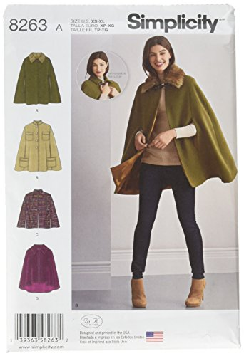 Simplicity 8263 Women's Cape and Capelets Sewing Patterns, Sizes XS-XL]()