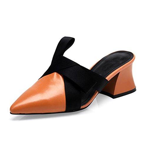 Nueva Europa sandalias marea de cabeza Zapatos cabeza de 2018 blanco con caramelo verano femenino zapatillas de Baotou MUMA sandalias de Caramel y señaló rugosa Mujer Zapatos mujer color colour con zapatillas tacón B6qIFTnZxq