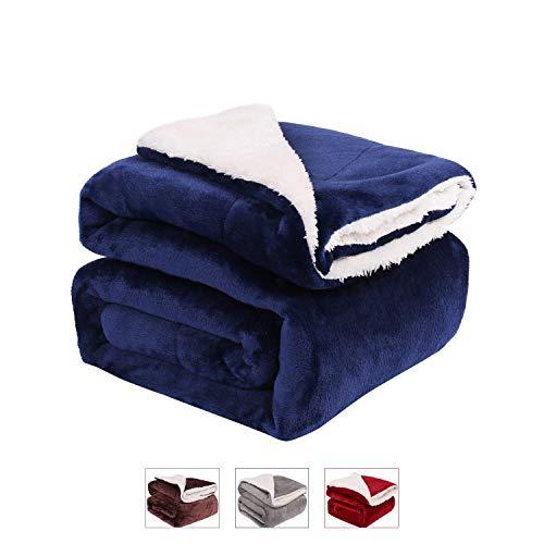 LONGFINE Dual Reversible Soft Fleece Blanket, Microfiber Sherpa Fleece Fabric, Fluffy、Warm、Cozy Blanket for Couch, Sofa, Lightweight Microfiber, Luxury Modern TV Blanket. (Dark Blue, 6080)