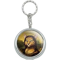 Graphics and More Portable Travel Size Pocket Purse Ashtray Keychain Funny Nerdy Mustache - Meowna Lisa Mona Cat Leonardo da Vinci