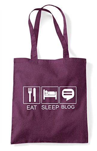 Funny Activity Blog Tote Bag Sleep Eat Shopper Plum Tiles Hobby Xwatpgx
