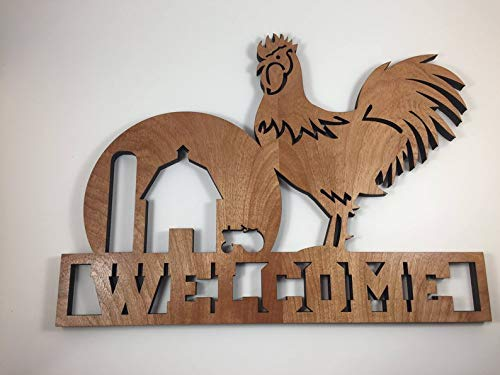 CELYCASY Rooster Welcome Sign Wood Sign Home Decor
