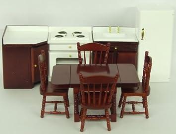 Wooden Dolls House Furniture   9 Piece Kitchen Set   1:12 Scale