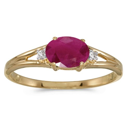 (14k Yellow Gold Oval Ruby And Diamond Ring (Size 4.5))