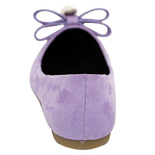 À Femme Unie Couleur Tire Non Aalardom Violet Talon Plat Chaussures Pointu bijou 4d8wq