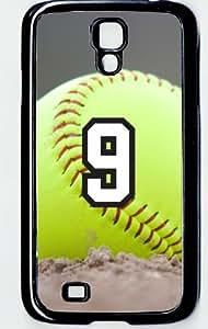Softball Sports Fan Player Number 9 Decorative Black Plastic Samsung Galaxy S4 Case