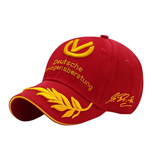 ShiningLove Fashion Unique Wheat Embroidery Star Schumacher Signature Hat Hip-Hop Baseball Cap Red (Schumacher Hat)