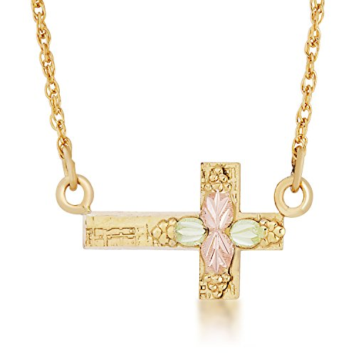 Sideways Cross Necklace, 10k Yellow Gold, 12k Green and Rose gold Black Hills Gold Motif by Black Hills Gold Jewelry