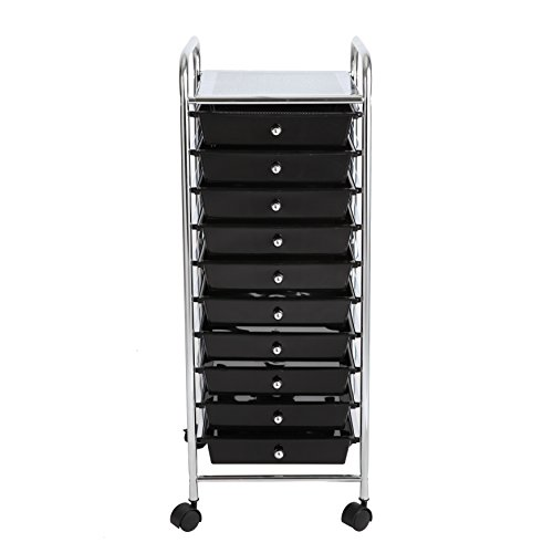 Finnhomy 10 Drawer Rolling Cart Storage Rolling Carts with Semi-transparent Black Drawers  sc 1 st  Lawrence County Lawyers : storage rolling carts  - Aquiesqueretaro.Com