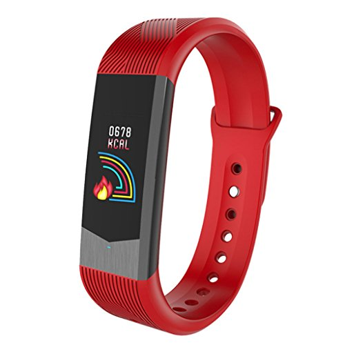 Fly Fashion Sports 3DUI Heart Rate Color Screen Smart Bracelet APP Reminder Pedometer Blood Pressure Bracelet Watch (Color : Red) by Fly