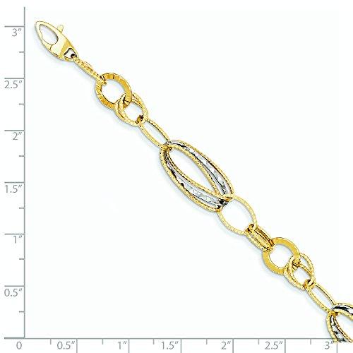 14 carats-Bicolore texturé avec po Ext. Bracelet creux-JewelryWeb