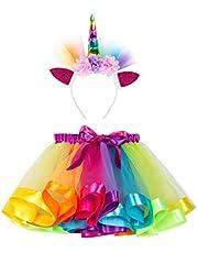 Little Girls Layered Rainbow Tutu Skirts with Unicorn Horn Headband Multicolor