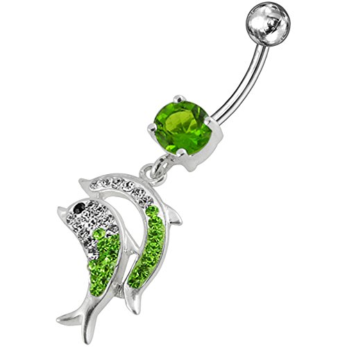 Peridot Green Multi Crystal Stone Dolphin Dangling Design 925 Sterling Silver Belly Button Piercing Ring (Dangling Peridot Belly Button Ring)