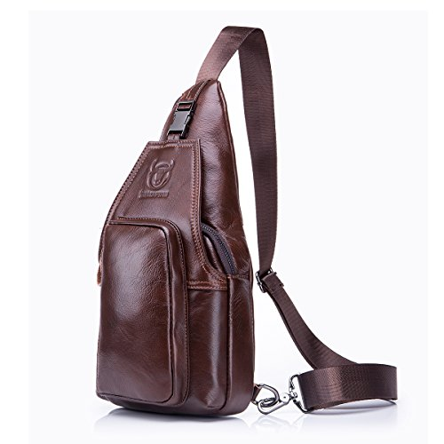 Bolso Hombres de pecho, Charminer Cuero genuino Crossbody Bolso de hombro Bolsos de mochila Mochila Messenger Bag Daypack para el negocio Casual Sport Hiking Travel Brown negro marrón
