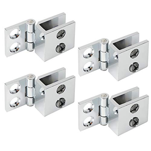 Alise 4-Pack Single Side Glass Doors Hinge Cupboard Showcase Wine Cabinet Clamp Ambry Gate Hinges Replacement Parts,BLJ001-4P Polished Chrome