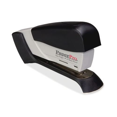 PaperPro 500 Spring Powered Compact Stapler - 15 Sheets Capacity - 105 Staples Capacity - 1/4quot; Staple Size - Gray