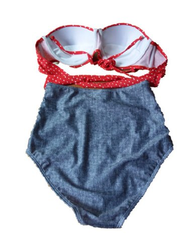 Retro High Waist Pin up Bikini Sets Red Polka Top+denim Bottom