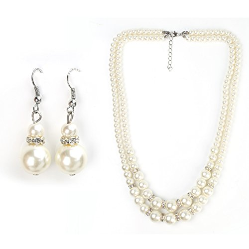 Graduated Faux Pearl Necklace (Classic Faux Pearl Set - Dual-Strand Graduated Necklace and Coordinating Drop Earrings with Swarovski Style Crystals)