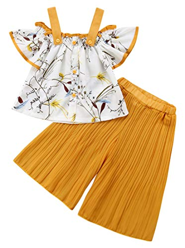 Vest Wide Leg Pants - 1-6T Baby Girl Yellow Pleated Wide Leg Palazzo Pants Outfits Adjustable Halter Straps Off Shoulder Floral Vest Tops 2pcs Fall Outfit (Yellow, 1-2 Years)