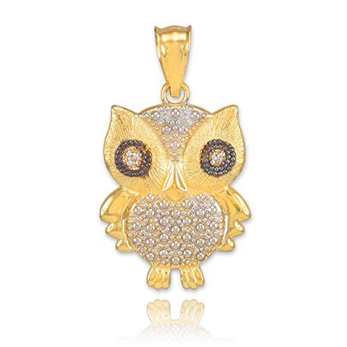Petits Merveilles D'amour - Pendentif - 10 ct 471/1000 Deux-Tone Ou Avec Eule- pendentif à diamants