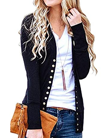 27ef5f96940 Tracpos Women s V-Neck Solid Button Front Knitwears Long Sleeve Casual Cardigans  Sweater