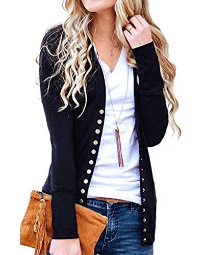 2b819e54f5 Tooklanet Women s Button Down Knitwear Long Sleeve Soft Knit Casual  Cardigan Sweater