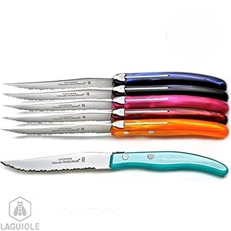 LAGUIOLE Juego de 6 cuchillos Laguiole, color del Verano ...