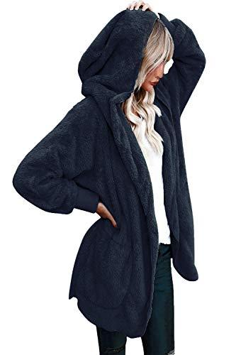 Yanekop Womens Winter Open Front Loose Hooded Fleece Sherpa Jacket Cardigan Coat(Bright Blue,XL)