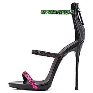 1d2900e37dd1 LUCKY ROAD Sandals Rhinestone High Heel Stiletto Heel 12Cm Height Wedding  Party Birthday Dancing Queen Girls
