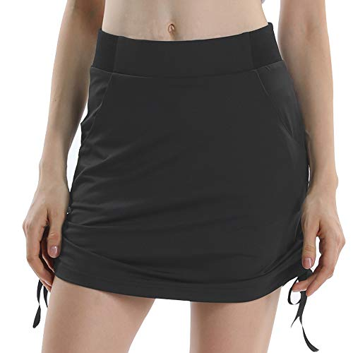 (Jessie Kidden Women's Anytime Casual Athletic Stretch Skort Skirt with Shorts and Pocket for Running Tennis Golf Workout #205,Grey,)