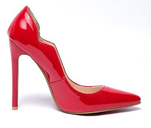 Aisun Damen Lack Kunstleder Spitz Zehen Stiletto High Heels Low Top Pumps Brautschuhe Rot