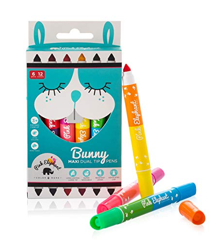 Pip Squeaks Markers for Kids and Toddlers Dual Tip Jumbo Markers Non-Toxic 12 Colors ()
