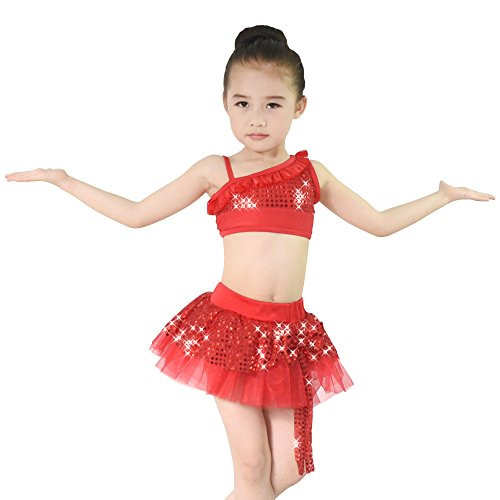 MiDee Girl's 2 Pieces Diagonal-neck Sequins Latin Dress Dance Costume (IC, Red)