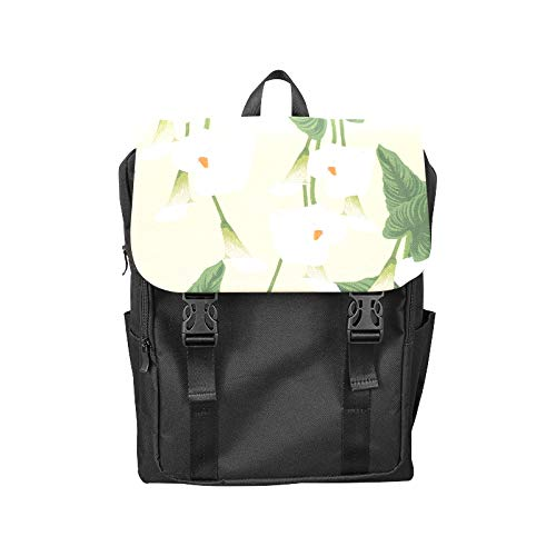 Fashion Flip Cover Notebook Calla White Floral Hand Drawn Romatic Print Laptop Backpack Travel Men Women Business Computer Backpack Oxford Fabric Vintage School Shoulder Bag (White Blossom Calla)
