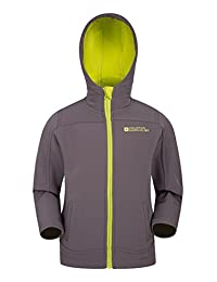 Mountain Warehouse Exodus Kids Softshell Jacket - Cool Childrens Coat Grey 7-8 years