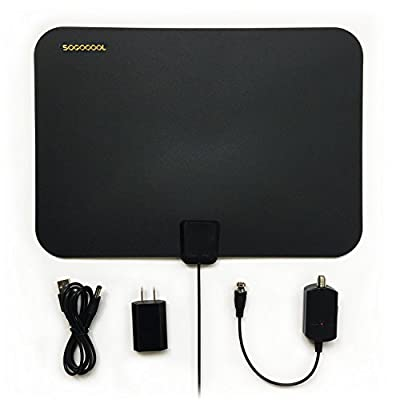 NEW HDTV Antenna Indoor, 30- 50 Mile Range with Amplifier, Antenna with Detachable Signal Booster, 4.5m Cable (30- 50 Mile Currency)
