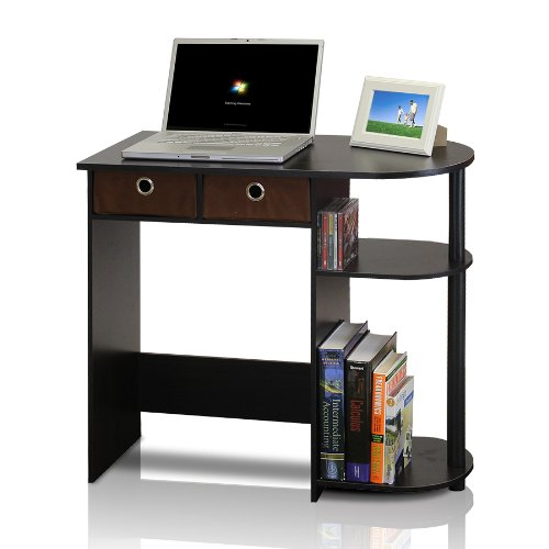 Furinno 11193EX/BK/BR Go Green Home Laptop Notebook Computer Desk/Table, Espresso/Black/Brown (Small Office Desk)