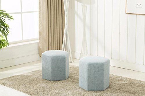Dara OT 3001 Ottoman Bench Light Blue Set of 2