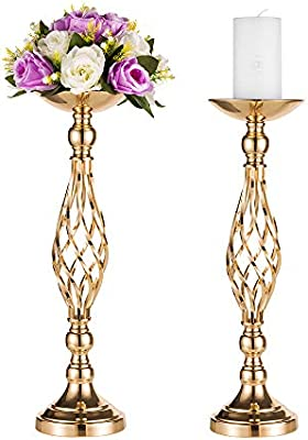 Pcs Of 2 Tall Metal Vase For Wedding Centerpieces Decoration Artificial Flower Arrangement Pillar Candle Holder Stand Set For Wedding Party Dinner Event Centerpiece Home Decor 2x20 5 H Twist Style Amazon Sg Home