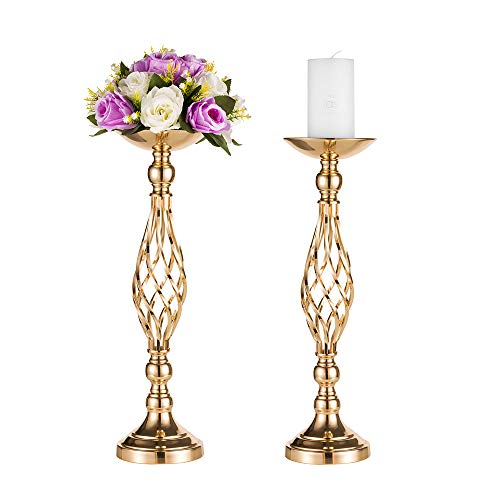 Pcs of 2 Tall Metal Vase for Wedding Centerpieces Decoration-Artificial Flower Arrangement-Pillar Candle Holder Stand Set for Wedding Party Dinner Event Centerpiece Home Decor (2x20.5
