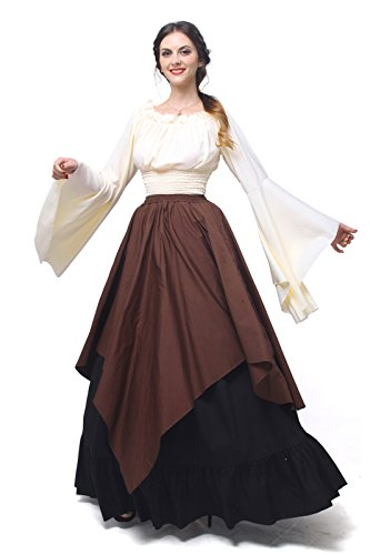 Womens Medieval Victorian Costume Dress Gothic Renaissance Asymmetric Fancy Dresses GC367A-M