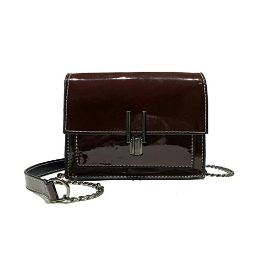 LXC Womens Bag Patent Leather Mirror Bright Shoulder Bag Crossbody Bag for Women (Brown) ()