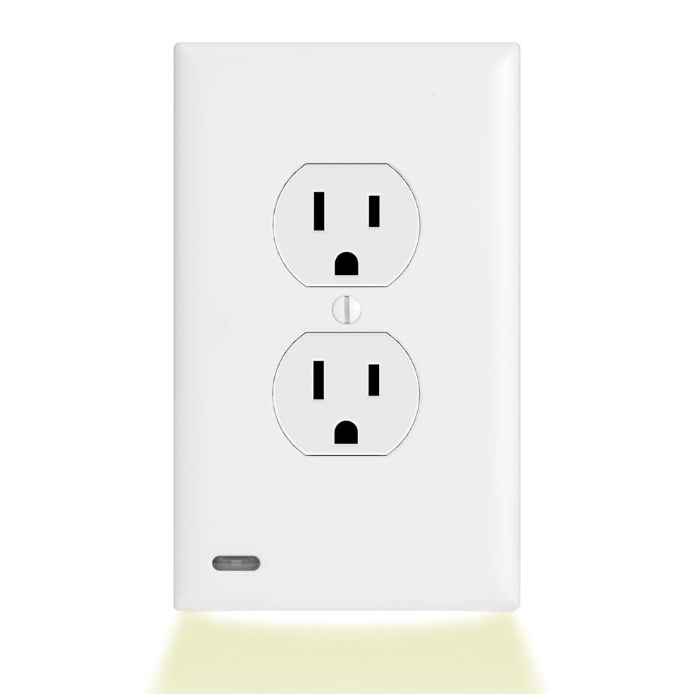 6 Pack SnapPower Guidelight 2- Outlet Wall Plate With LED Night Lights - No Batteries Or Wires - Installs In Seconds - (Duplex, White)