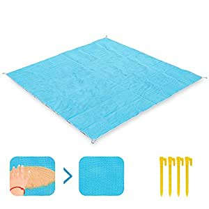 "KUYOU Sand-Free Beach Mats,Sand Proof Beach Blanket 79"" x 79"" (6.6ft x 6.6ft) Includes 4 Stake Anchors Fast Dry,Waterproof, Ultra Portable for Beach, Picnic, Camping, Outdoor Events"