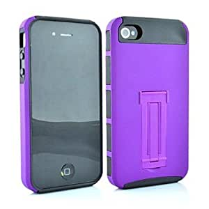 Mini - 2 in 1 Point Robot Style PC and TPU Composite Case for iPhone 4/4S , Color: Purple