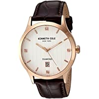 Kenneth Cole New York Men's 'Diamond' Quartz Stainless Steel and Leather Dress Watch, Color Brown (Model: 10030783)