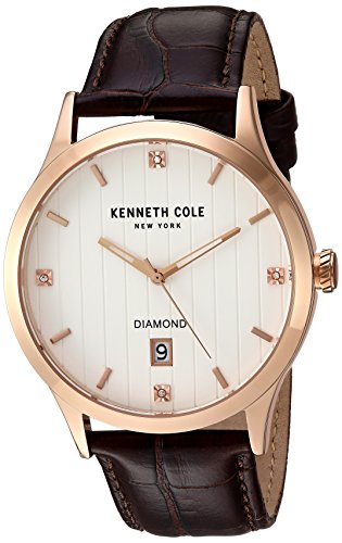 Kenneth Cole New York Men's 'Diamond' Quartz Stainless Steel and Leather Dress Watch, Color:Brown (Model: 10030783)